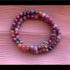 ✨Agate Gemstone Cross Bracelet 2 Piece Set